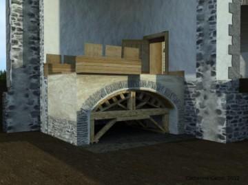 Modélisation 3D des latrines. Site de l'îlot des Palais.  Image créée par: Catherine Caron.